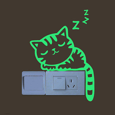 Luminous Glow In Dark Sleeping  Cat Light Switch Wall Sticker Decal Home Decor - Glow In Dark Light