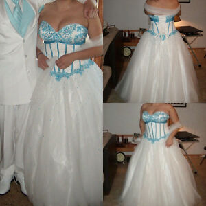 White and Turquoise Ballgown with corset back