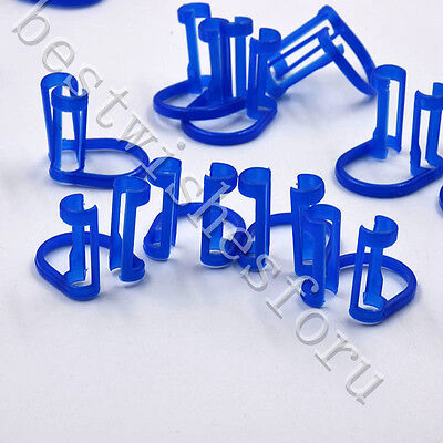 100pc Dental Clinic Use 16.82022.4mm Cotton Roll Isolator Holder Lap Clip Blue