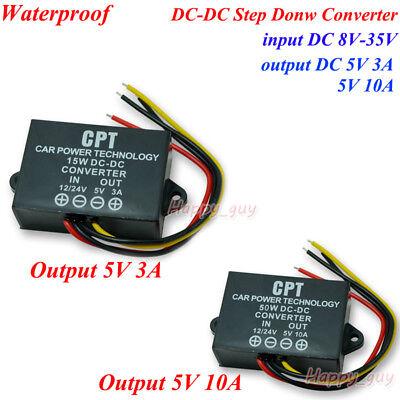 Waterproof Dc-dc Buck Step Down Regulator 12v 18v 24v To 5v Car Power Converter