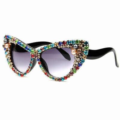 Halloween Cat Eyes For Window (2020 Oversized Sunglasses Women Rhinestone Cat Eye Shades Sun Glasses For)
