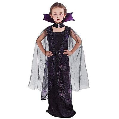 Victorian Vampiress Halloween Costume (Girls Vampire Costume Long Bat Victorian Vampiress Halloween Fancy Dress)