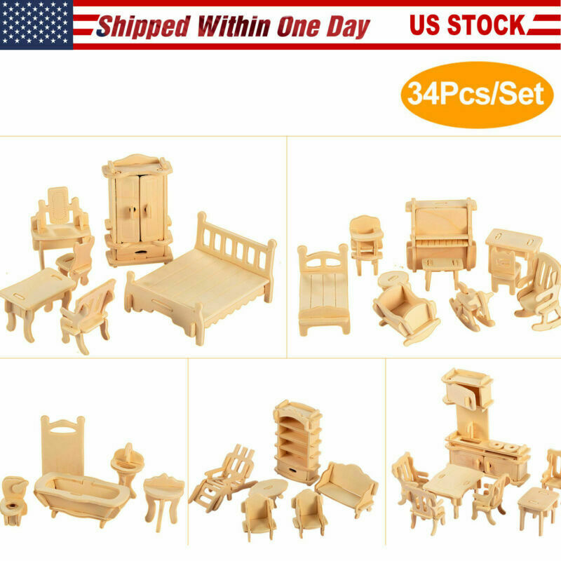 34 PCS Unfinished Wooden Dollhouse Miniature Furniture Mini Doll Furniture Kit