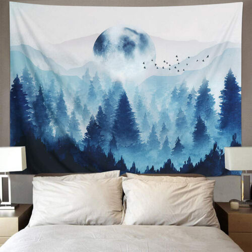 Psychedelic Forest Tree Tapestry Wall Hanging Blanket Home D