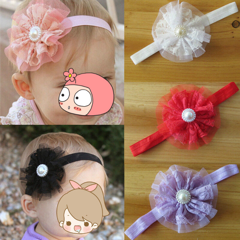 6PCS Cute Pearl Baby Infant Girl Toddler Lace Flower Headband Headwear Hair Band