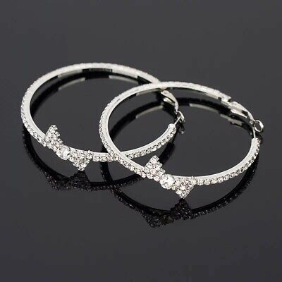 Exsqusite silver plated multi CZ bow design 2.25