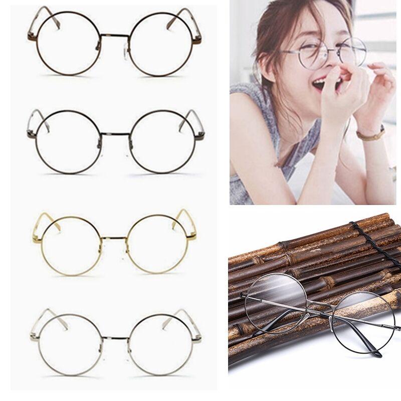2bddc82000 Women Men Large Oversized Metal Frame Clear Lens Round Circle Eye Glasses  Nerd E