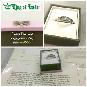 REDUCED 14k White Gold Oval Cut Ladies Ring - King of Trade!