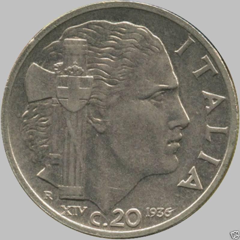 1936 Italy 20 Centesimo Coin (Scarce)