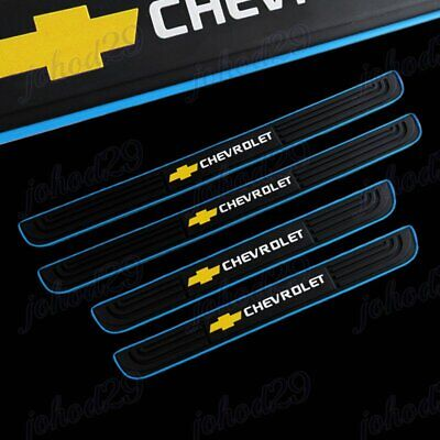 X4 BL/Black Rubber Car Door Scuff Sill Cover Panel Step Protector For Chevrolet