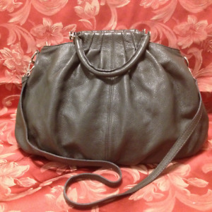 New Grey Genuine Italian Leather Hobo Hand Bag/Shoulder Bag