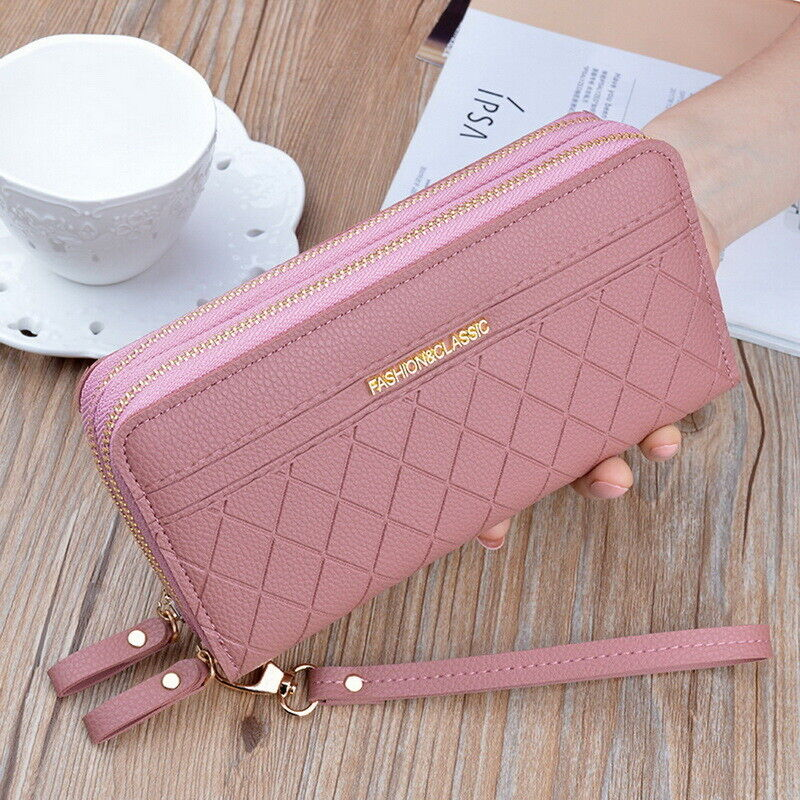 Women's Large Capacity Leather Wallet Double Zipper Long Purse Phone Handbag US Clothing, Shoes & Accessories