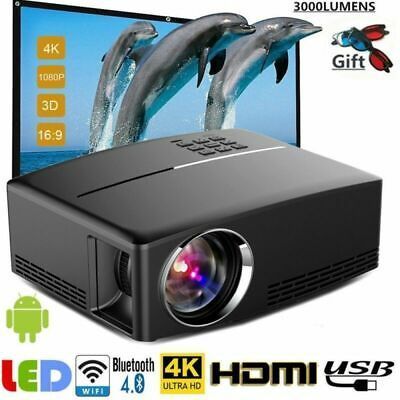 Home Projector WiFi 4K 3D Full HD 1080P LED Mini Cinema Bluetooth AV/TV/USB/HDMI