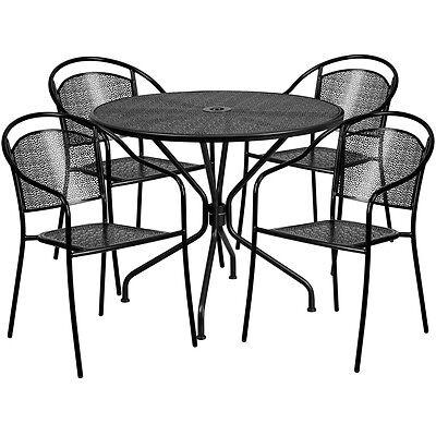 35.25 Round Black Indoor-outdoor Patio Restaurant Table Set W4 Metal Chairs