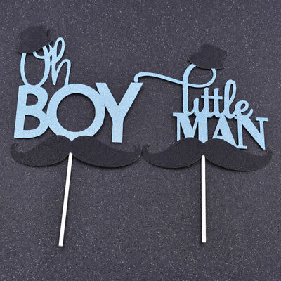 Little Gentleman Mustache Cupcake Topper Birtday Party Wedding Cake Bakery Decor