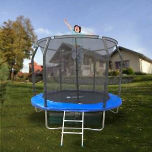 8ft round spring trampoline with ladder safety net enclosure mat swo