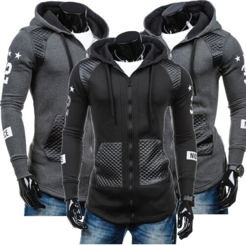 Fashion Men Slim Fit Hoodie Jacket Leather Patchwork Zip Up