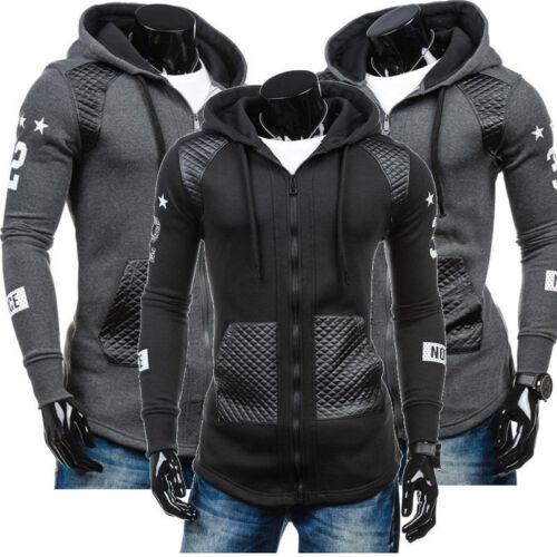 fashion men slim fit hoodie jacket leather