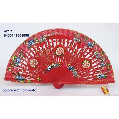 Abanico Elegante de Madera Rojo, Algodón Rojo Con Diseños Fiorati. Adecuado Para