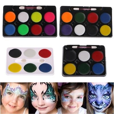 6 / 8 Colors Face Body Paint Palette Makeup Brush Set Halloween Party Stage New