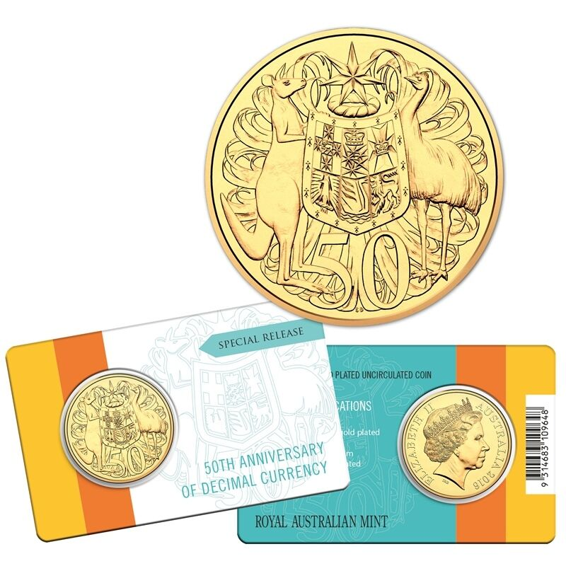 2016 Royal Australian Mint RAM 50th Decimal Currency 50c Gold Plated Coin