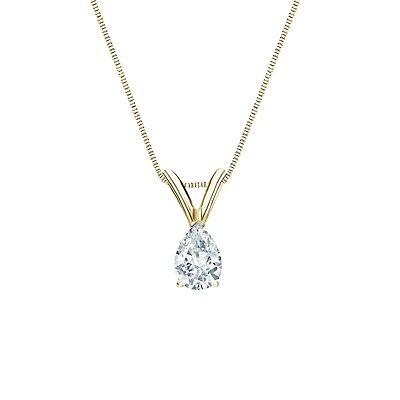 1 Ct Pear Brilliant Cut Solid 14k Yellow Gold Solitaire Pendant 18