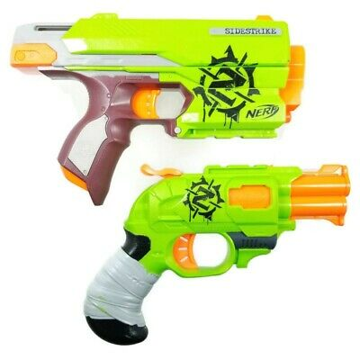 Lot of (2) 2013 NERF Zombie Strike SIDE STRIKE & DOUBLE STRIKE Dart Blaster Guns