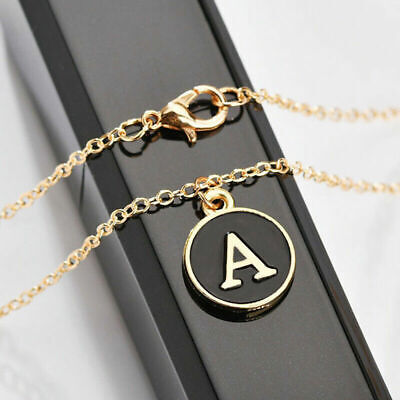 Stainless Steel Alphabet Initial Necklace A-Z Letter Pendant Chain Jewelry Gift