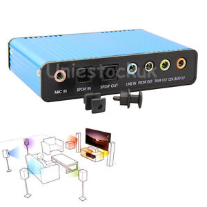 USB External 6 Channel 5.1 S/PDIF Optical Sound Card Audio For PC Laptop Netbook