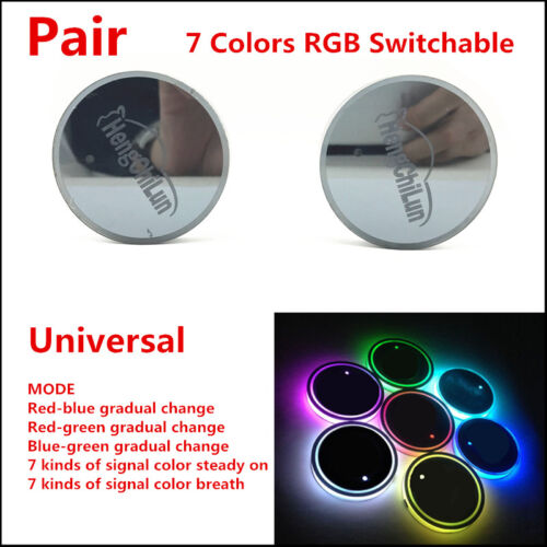 2pcs (65mm) USB Charge Switchable 7 Colors RGB LED Car Cup Holder Bottom Pad Mat