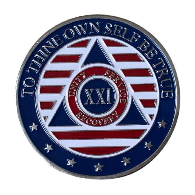 21 Year Patriotic Stars and Stripes AA/NA Recovery Medallion - Red/White/Blue