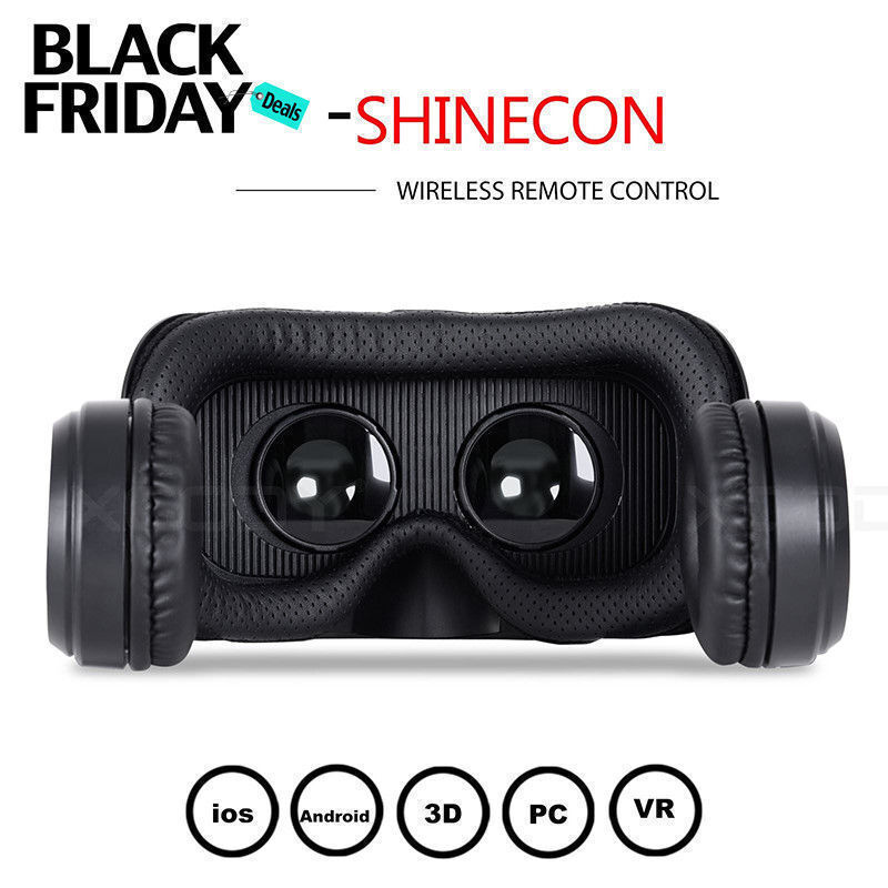 VR Shinecon 6.0 3D Virtual Reality Glasses For Iphone Samsung With Headphones