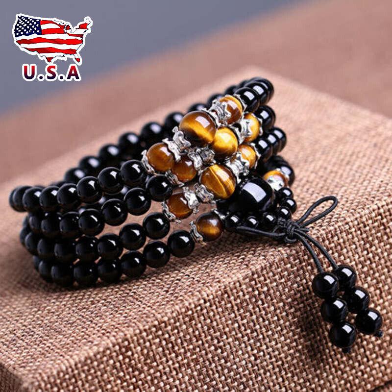 tiger eye buddhist obsidian 108 prayer beads