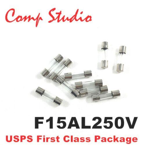 10pcs 15A 250V Quick Fast-Blow Fuse Glass Tube Fuse 5x20mm F15AL250V