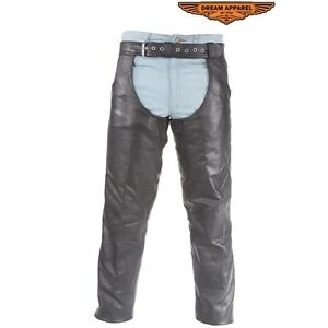 Distressed Brown Leather Motorcycle Chaps With Leather Belt