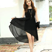 Asymmetric Hem Chiffon Dress