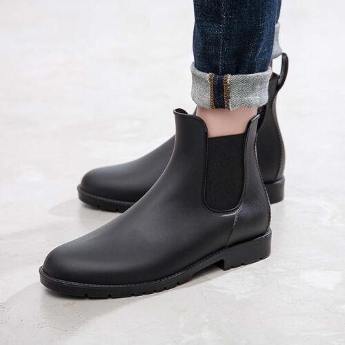 Men's Rain Boots Leather Waterproof Slip-Resistant Martin Bo