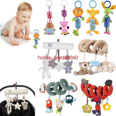 Baby Crib Cot Stroller Pram Hanging Bell Musical Toy Soft Plush Rabbit Bear Star