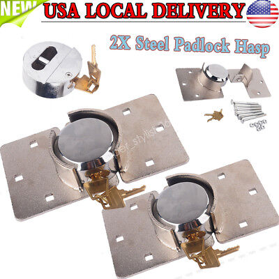 2pcs 73mm Round Puck Lock Hidden Shackle Utility Van Door Steel Padlock W Hasp