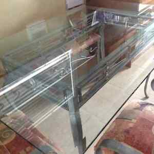 Wrought iron glass top table chairs with matching shelf