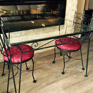 Patio table and 2 wrought iron chairs