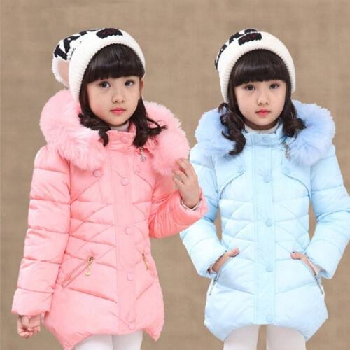 Kid Girl Denim Coat Fleece Inner Fur Collar Patchwork Winter Warm Cotton Jacket