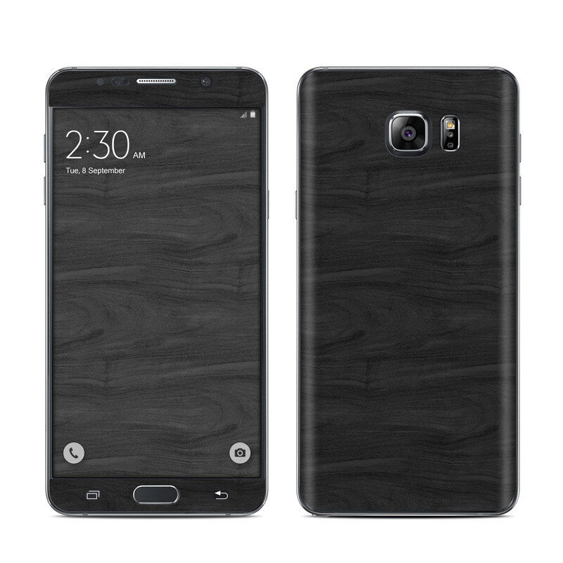 Galaxy Note 5 Skin - Black Woodgrain - Sticker Decal