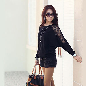 Sexy Women Batwing Blouse Top T-Shirt Dolman Lace Long Sleeves Shirt White Black