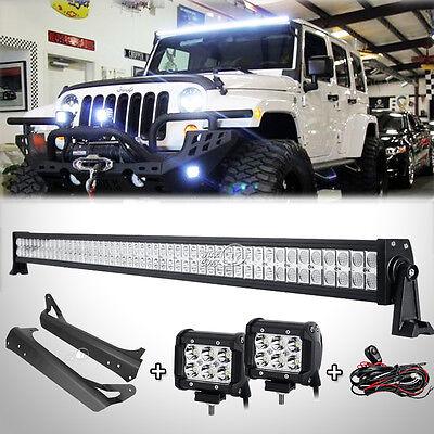 "52""inch 700W Led Light Bar+4"" 18W+Mount Bracket Fit For Jeep Wrangler TJ 1997~06"
