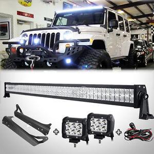Jeep wrangler light bar ebay 52inch 700w led light bar4 18wmount bracket fit for jeep wrangler tj 199706 fits jeep wrangler aloadofball Image collections