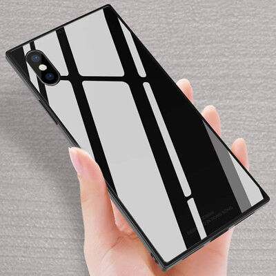 Fashion Square Tempered Glass Phone Case Cover For iPhone X XS Max XR 8 7 6 - Cell Phone Case Iphone