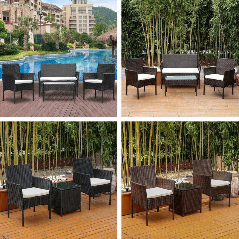 Garden Furniture - 3/4pcs Rattan Wicker Patio Furniture Table Chairs Set Outdoor Backyard Garden