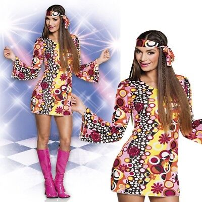 GROOVY GIRL 38/40 (M) DAMEN KOSTÜM Hippie 70er 80er Jahre Flower Power - Flower Power Girl Kostüm