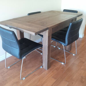 Reclaimed Pine Dining Table and Vinyl Chairs